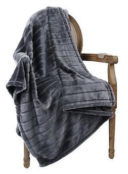 Bertte Ultra Velvet Plush Super Soft Decorative Stripe Throw