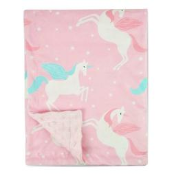 Boritar Unicorn Baby Blanket for Girls Soft Minky with Doubl