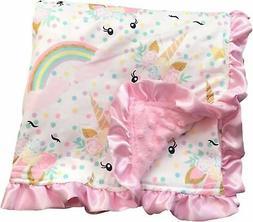 Aki_Dress Unicorn Kids Blanket Soft Minky Double Layer Baby