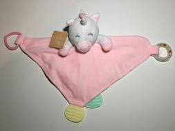MODERN BABY UNICORN SECURITY BLANKET  PINK BABY TEETHER RATT