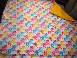 "Unicorns 42""x 36"" Fleece & Flannel Baby Blanket Hand Made Br"