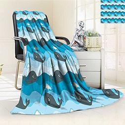 YOYI-HOME Unique Custom Duplex Printed Blanket Whale Smiling
