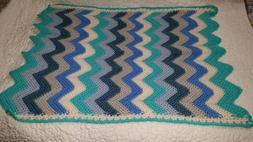 "Handmade Unisex Baby Ripple Blanket - Size 24"" x 30"""