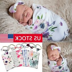 US 2Pc Newborn Infant Baby Swaddle Blanket Print Sleeping Wr