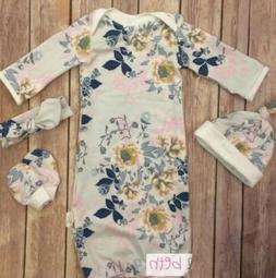 US 2Pcs 100% Cotton Floral Swaddle Wrap Blanket Baby Sleepin