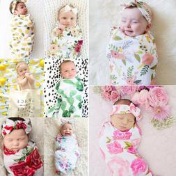 US 2pcs Cotton Infant Swaddle Muslin Blanket Newborn Baby Wr