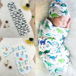 US 2PCS Newborn Baby Girl Boy Swaddle Wrap Blanket Sleeping