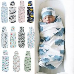US 2PCS Newborn Baby Girl Boy Swaddle Wrap Blanket Sleeping
