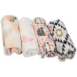 4 Pcs Newborn Infant Baby Boy Girl Wrap Receiving Cotton Mus