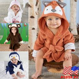 US Cute Animal Baby Bath Towel Coral Fleece Blanket Infant H