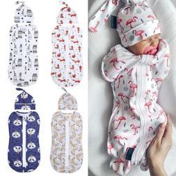 US Cute Newborn Swaddle Blanket Baby Boy Girl Zipper Sleepin