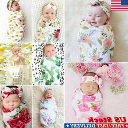 US Jersey Infant Swaddle Headband Blanket Newborn Baby Wrap