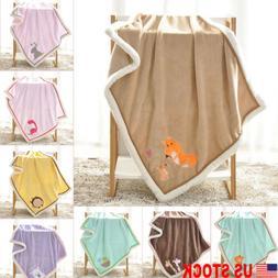 US Newborn Baby Bassinet Warm Flannel Blankets Cartoon Beddi