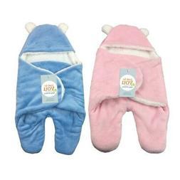 US Newborn Baby Infant Swaddle Wrap Swaddling Blanket Fleece
