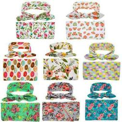 US Newborn Infant  Baby Floral Swaddle Blanket Top Knot Towe