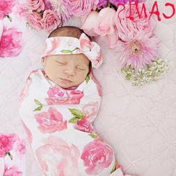 US Newborn Receiving Blanket Headband Set Flower Print Baby