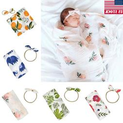 US Toddler Infant Baby Boy Girl Swaddle Muslin Blanket Wrap