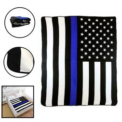 USA American Thin Blue Line 50x60in Throw Blanket Blue Lives