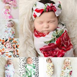 USA Newborn Baby Floral Swaddle Wrap Swaddling Sleeping Bag