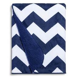 Circo Valboa Baby Blanket - Navy Chevron Blue White Soft NEW