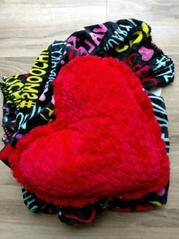 Valentine throw blanket and pillow set