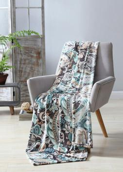 VCNY Bergamo Velvet Plush Throw Blanket, Teal, 50x70 Inches