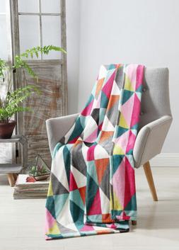 VCNY Helen Velvet Plush Throw Blanket, Multi-Colored, 50x70