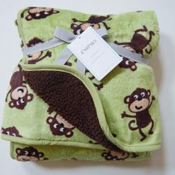 Carter's Velour Sherpa Blanket - Monkey Print