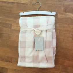 Mon Lapin Velvet Baby Blanket 30 x 40 Pink Buffalo Plaid NWT