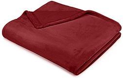 """Pinzon Velvet Plush Throw Blanket, 50"""" x 60"""", Burgundy"""
