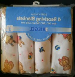 Vintage Riegel Flannel Baby Blanket Teddy Bears & Bunnies 4