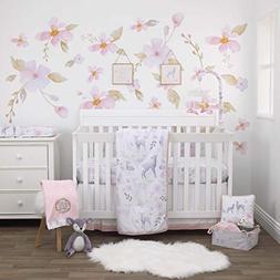 NoJo Watercolor Deer 4 Piece Nursery Crib Bedding Set - Comf