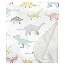 Carousel Designs Watercolor Dinosaurs Crib Blanket