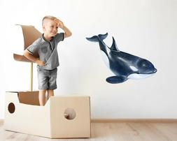 Watercolor Killer Whale Wall Decal Orca Wall Sticker Kids Ro