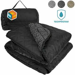 Waterproof Outdoor Sherpa Blanket Mat for Camping Picnic Bea