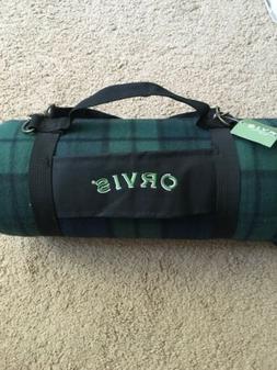 "Orvis Waterproof Picnic Blankets 52""x 56"" Black/Green Plaid"