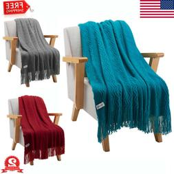 Wavy Pattern Throw Blanket Knitted Tasseled Fringe Soft Warm
