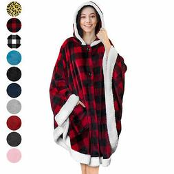 Wearable Hooded Blanket Wrap with Hood Pockets Angel Wrap Po