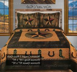 Western Star Horse shoe Cowboy Boot Quilt Bedspread Comforte