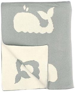 "DARZZI Whale Baby Blanket, Grey/Natural, 35""x45"""