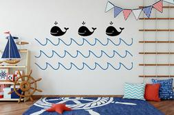 Whale Nursery Decor, Whale Wall Decal, Ocean Wall Decal, Nau