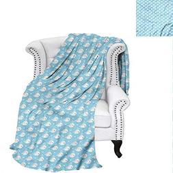 RenteriaDecor Whale Digital Printing Blanket Blue Baby Showe