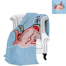 warmfamily Whale Digital Printing Blanket Cute Whale Couple