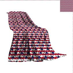 smallbeefly Whale Throw Blanket Abstract Nautical Waves with