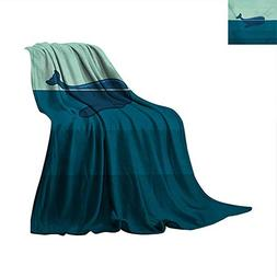 Whale Throw Blanket Big Blue Whale Half of it Swimming on Th