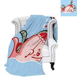 WilliamsDecor Whale Velvet Plush Throw Blanket Cute Whale Co