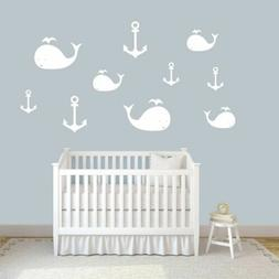 Whales and Anchors Wall Decal Set - Nursery, Kids, Baby, Ani