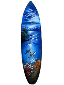 WHALES DOLPHINS SURFBOARD AIR BRUSH DESIGN TROPICAL SIGN WAL