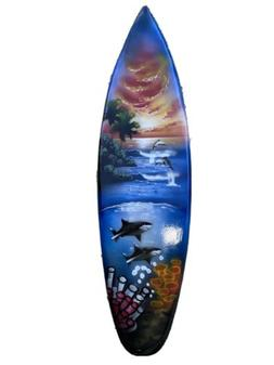 WHALES  DOLPHINS SURFBOARD AIR BRUSH DESIGN TROPICAL SIGN WA