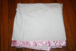 Elegant baby white baby blanket pink dots satin pink trim NW